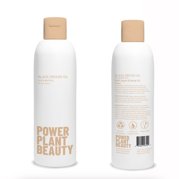 Shampoo design with the title 'product label'