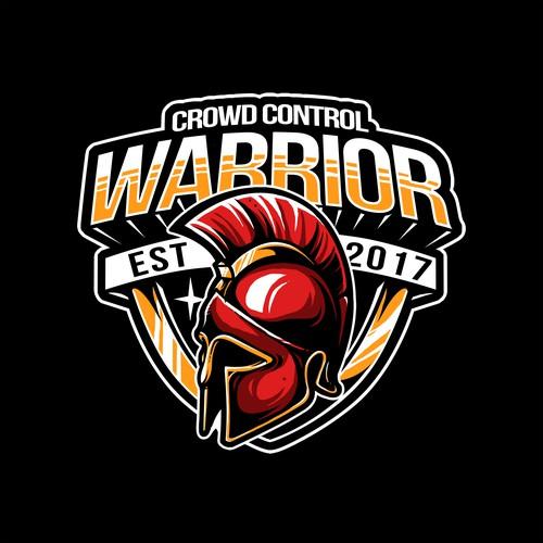 Spartan helmet design with the title 'WARRIOR'