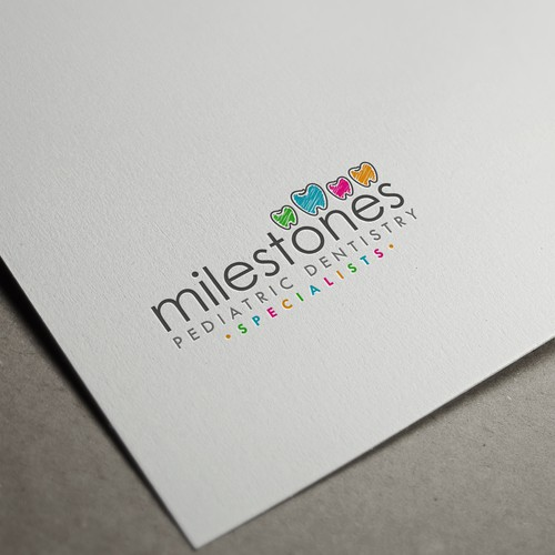 Tooth logo with the title 'Logo design for milestones Pediatric Dentistry Specialists'