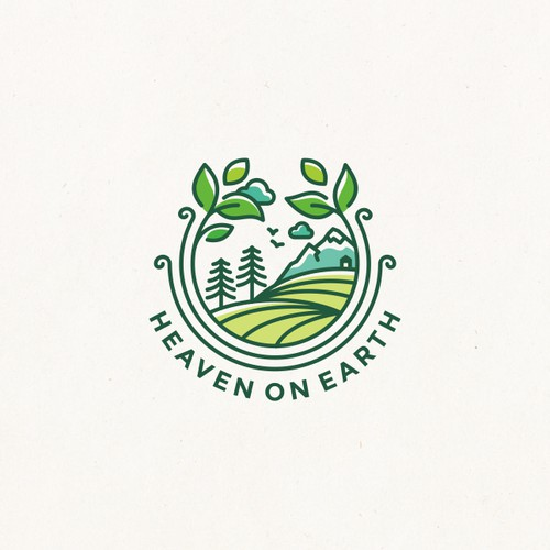 Peaceful logo with the title 'Heaven on earth : healthy and organic food brand'