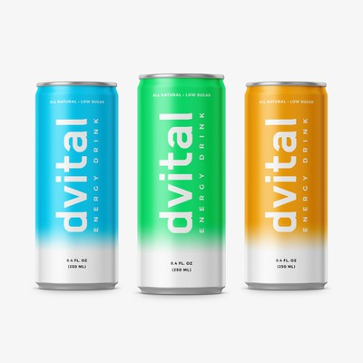 Sporty design for energy drink can