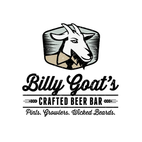 Goat farm logo with the title 'Logo design for Billy Goat's Craft Beer Bar'