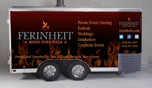 Trailer wrap design with the title 'Trailer design for Ferinheit Mobile Wood Oven Pizza'