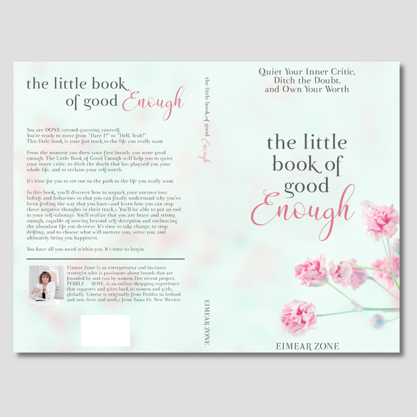 Flower book cover with the title 'Simple feminine book cover for quieting your inner critic '