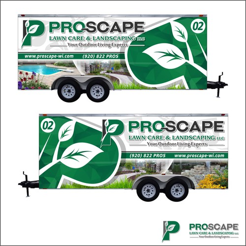 Trailer wrap design with the title 'PROSCAPE VAN WRAP DESIGN'