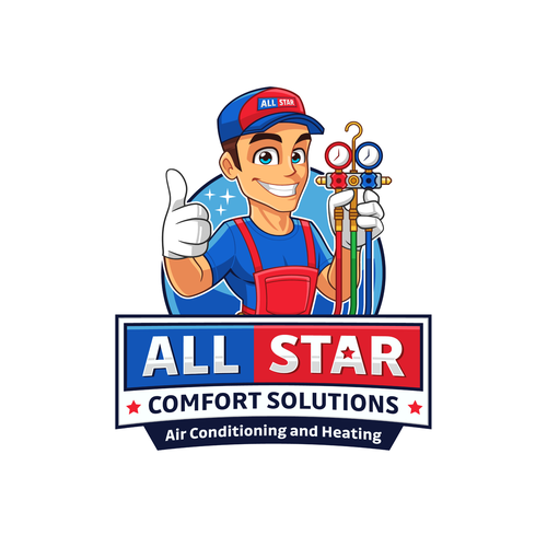 HVAC logo with the title 'Fun logo design for All Star Comfort Solutions'