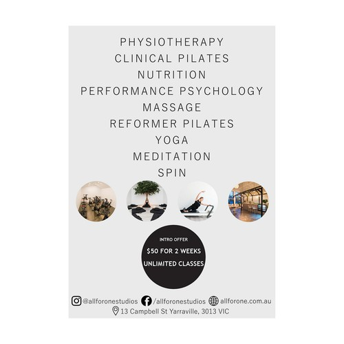 Offer design with the title 'Flyer concept for a wellness studio'