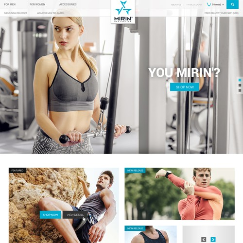 Fashion website with the title 'Gym Clothing'