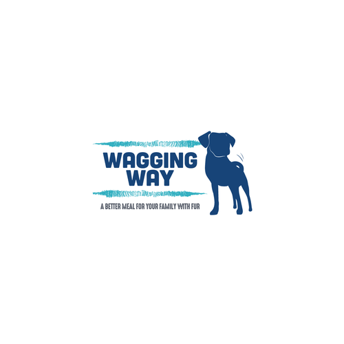 Dog food logo with the title 'Wagging Way Logo'