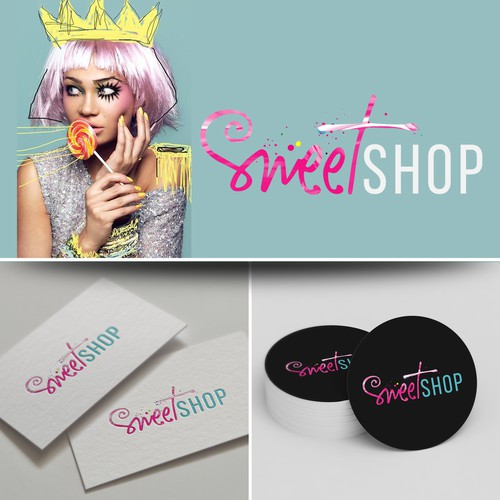 Funky design with the title 'Logo design SweetShop'