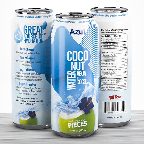 High-quality packaging with the title 'Coconut water Can design'