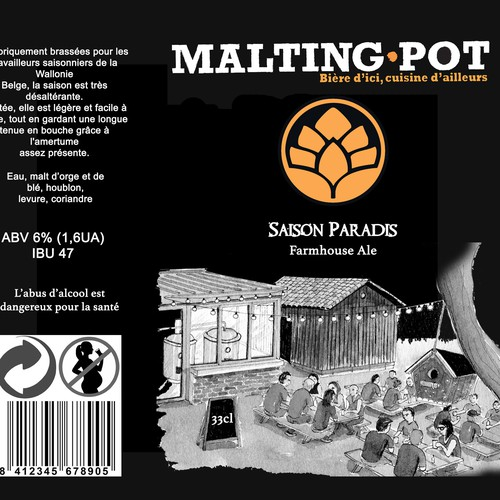 Beer can label with the title 'Malting Pot'