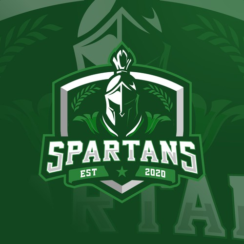 Spartan helmet design with the title 'Athletic Spartan Head Logo for new Charter school'