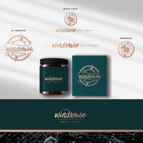 Botanical logo with the title 'windrose boutique'
