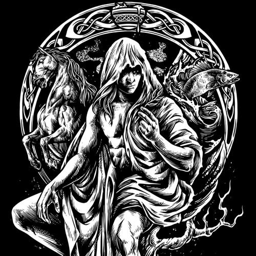 Runes design with the title 'Loki , god of mischief'