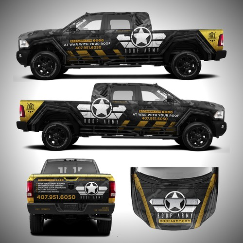 Camouflage design with the title 'Badass Truck Design for Roof Company'