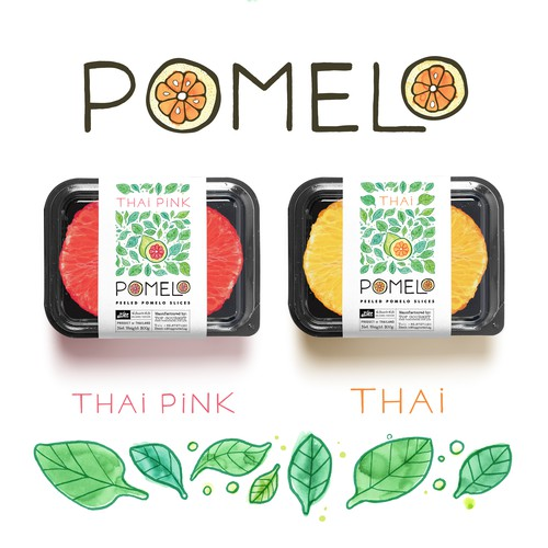 Vegan label with the title 'Hip Pomelo Branding project'