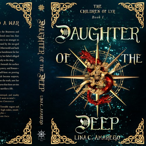 Golden book cover with the title 'This is my bookcover design for the fantasy novel 'Daughter Of The Deep' by Lina C. Amarego'