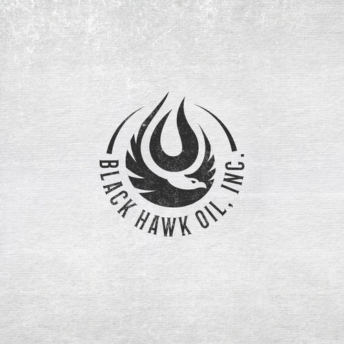 Flying bird logo with the title 'Black Hawk Oil Company Logo '