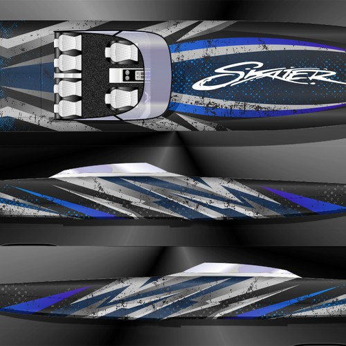 Race design with the title 'SKATER RACE BOAT WRAP DESIGN'