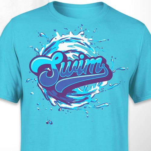 Wave t-shirt with the title 'Swim T-shirt design'