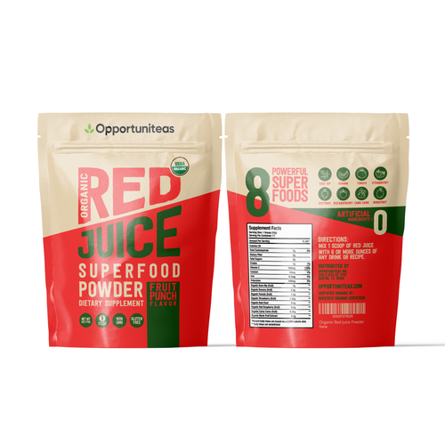 Vitamin packaging with the title 'Red Juice Supplement Pouch'