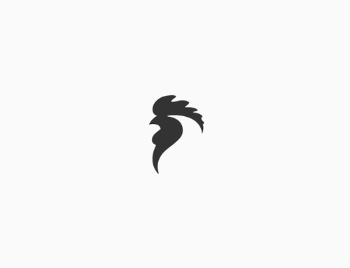 Black and white design with the title 'Rooster'