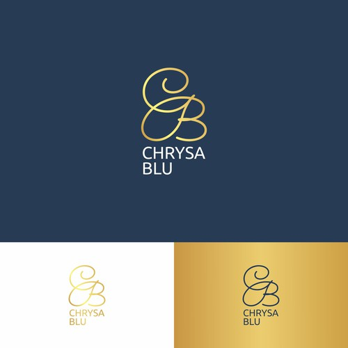 Navy blue logo with the title 'simple logo concept for CHRYSA BLU'
