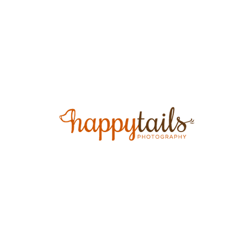 Lens logo with the title 'Fun logo for HAPPY TAILS PHOTOGRAPHY'