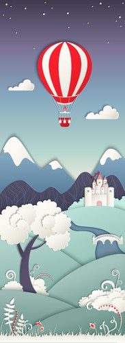 Hot air balloon design with the title 'Creative elements for mobile game design -papercut style'