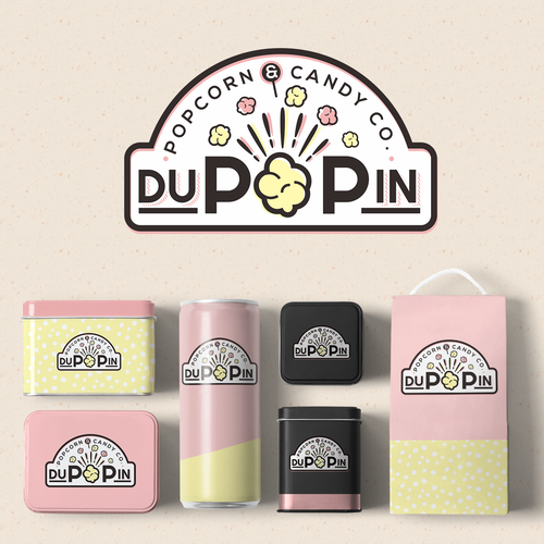 Candy design with the title 'logo for popcorn and candy store'