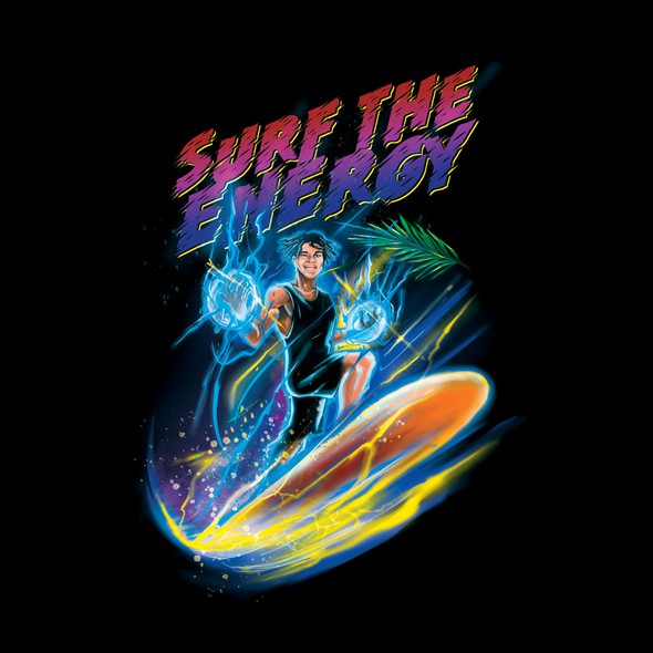 Vibrant t-shirt with the title 'Illustration for Energetic T-shirt'