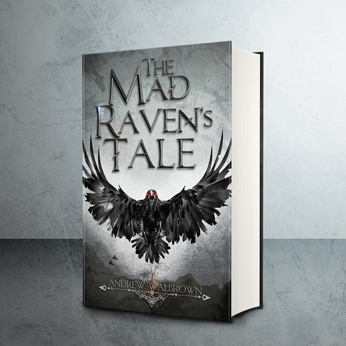 Gray book cover with the title 'Gritty and aggressive book cover for a dark fantasy novel'