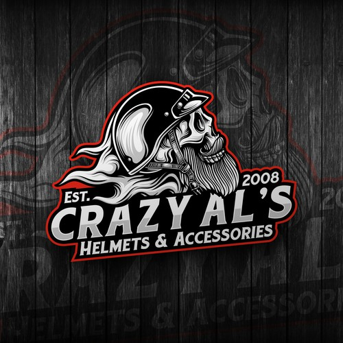 Motorcycle logo with the title 'Final design for Crazy Al's'