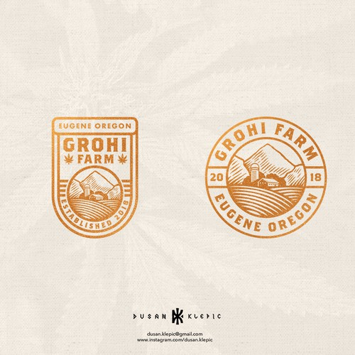 Cannabis design with the title 'GroHi Farm'