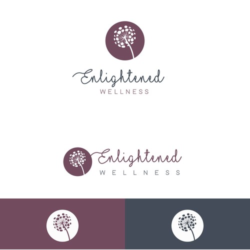 Navy design with the title 'Enlightened Wellness Logo'