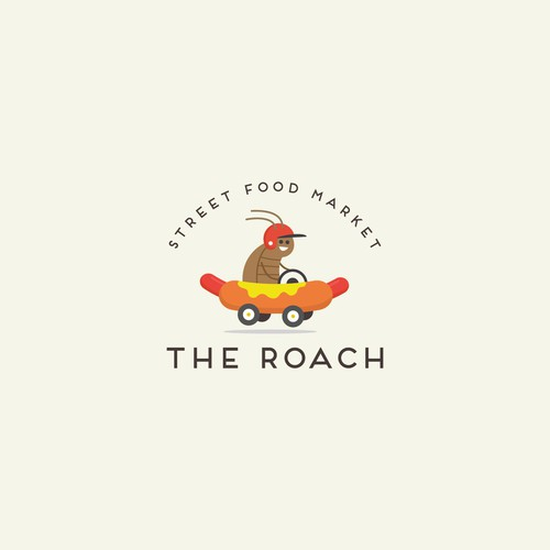 Street food logo with the title 'the roach logo design'