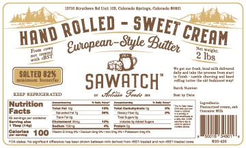 Butter design with the title 'Product label'