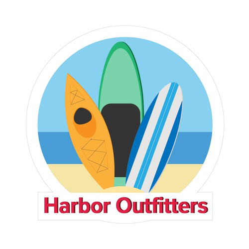 Paddle board logo with the title 'Harbor Outfitters Logo'
