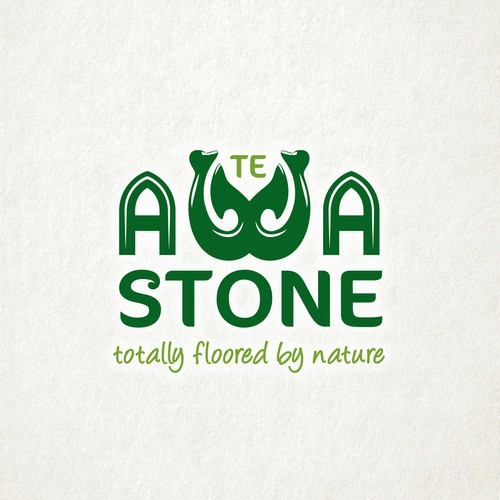 Hardwood logo with the title 'Logo design for Te Awa Stone specific to the Maori culture.'