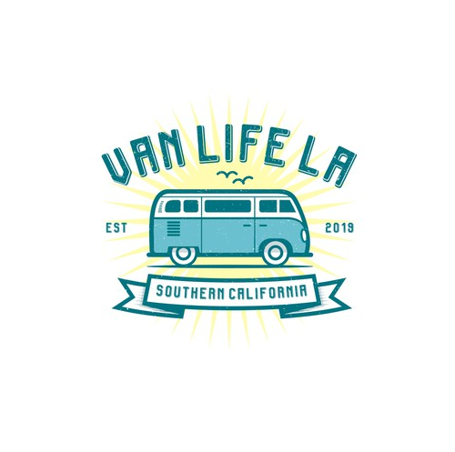 "Hippie logo with the title 'Design a Vintage logo for ""VANLIFE LA""'"