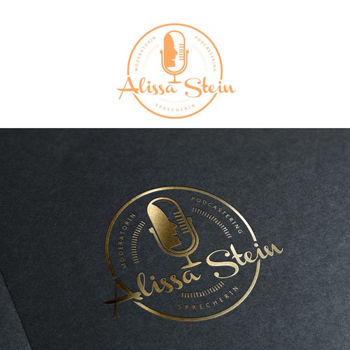 Hosting logo with the title 'Modern design with a microphone for TV/Event Presenter'