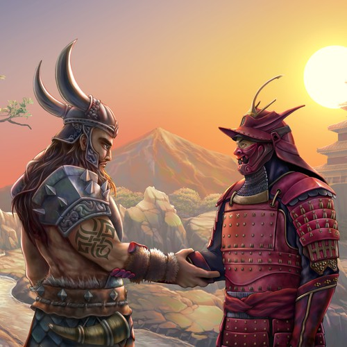 Warrior design with the title 'A Viking Warrior and Samurai'