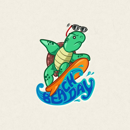 Tortoise logo with the title 'Illustrative Logo - Beach Day'