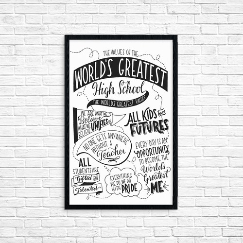 Hand-lettering artwork with the title 'Hand-Lettered, Hand-Drawn Poster'