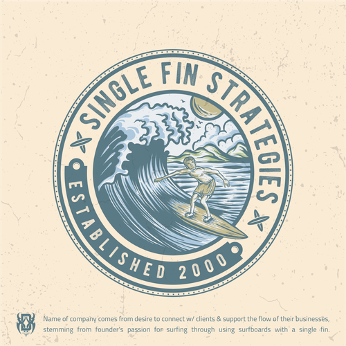 Surfboard logo with the title 'Vintage Surf-themed sales company logo'