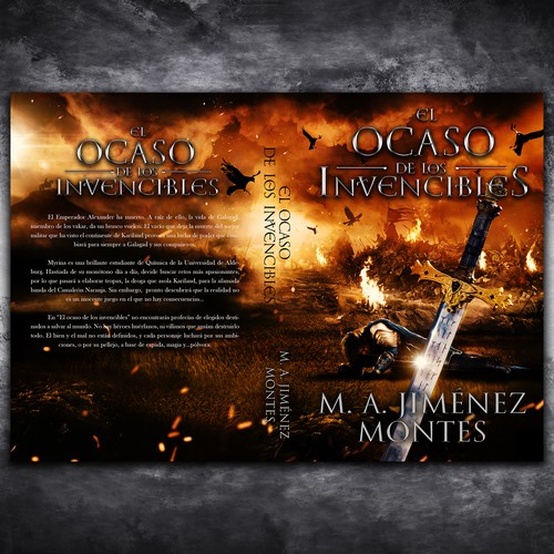 Fantasy book cover with the title 'El Ocaso de los Invencibles'