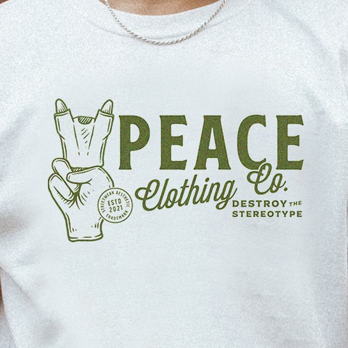 Clothing logo with the title 'Peace Clothing Co'