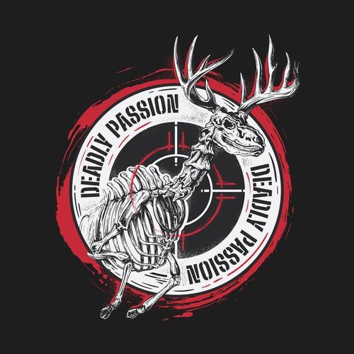 Deer t-shirt with the title 'Skeleton Deer Illustration Tshirt Design'