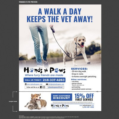 Flyer for Dog walking / Pet care service company